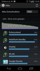 Akkulaufzeit Motorola Moto G, mit Kitkat 4.4.2