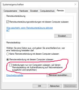 rdesktop und CredSSP required by server  - my GettoWEB DE