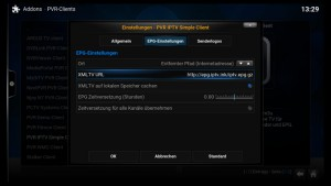Kodi PVR IPTV Simple Client EPG-Einstellungen