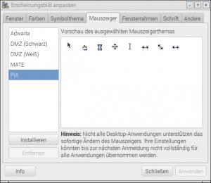 Pixel-Desktop für RaspberryPi, Erscheinungsbild anpassen Mauszeiger