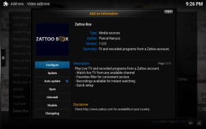 Kodi: Zattoo Box konfigurieren